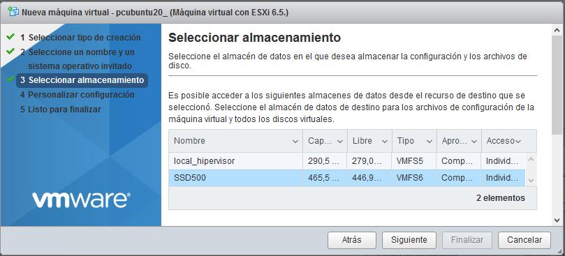 Crear máquina virtual para Linux Ubuntu 20 en VMware ESXi 6.5