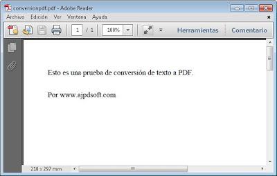 AjpdSoft Convertir Texto a PDF