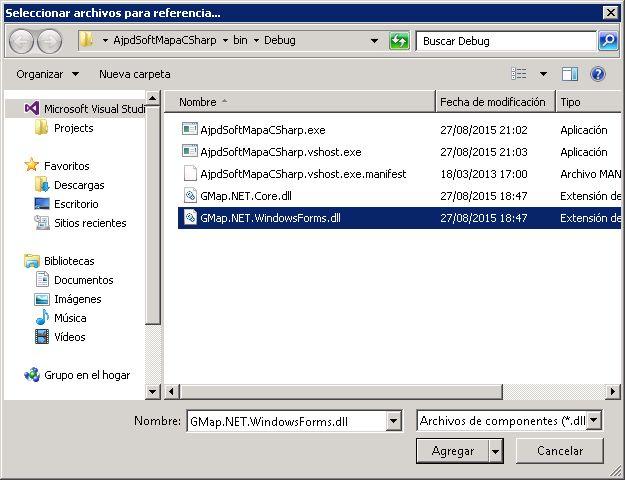 Descarga e instalación de GMap.NET en Microsoft Visual Studio .NET Community 2015