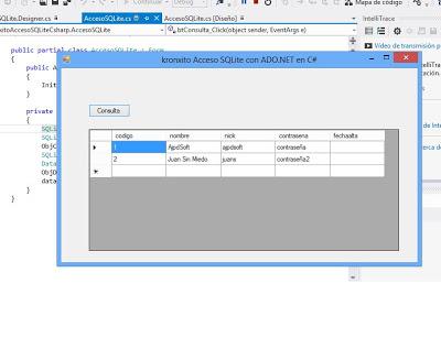 Ejemplo acceso nativo a SQLite con ADO.Net en C# .Net