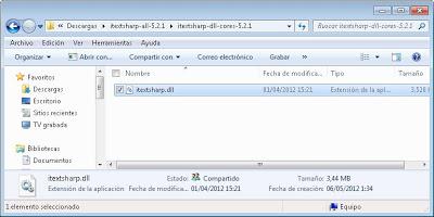 Descarga del componente gratuito iTextSharp