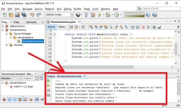 Secuencias de escape en Java con ejemplo en NetBeans