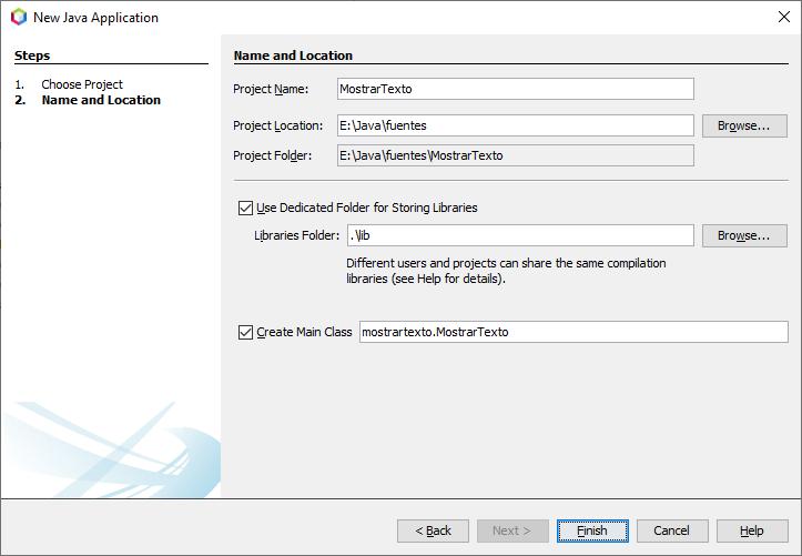 Crear nueva aplicación Java en NetBeans