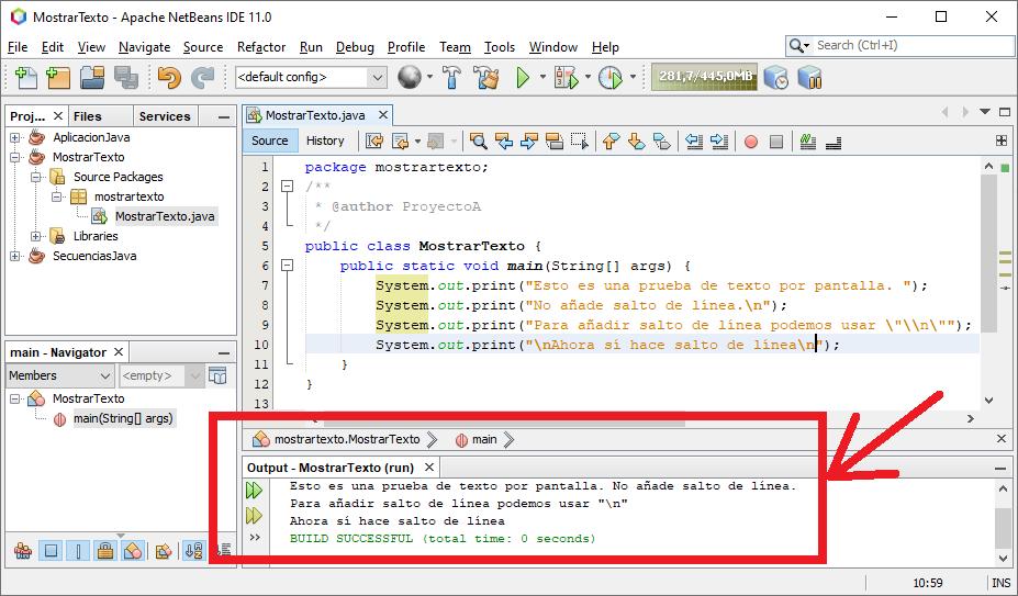 Mostrar texto por pantalla en Java con System.out.print