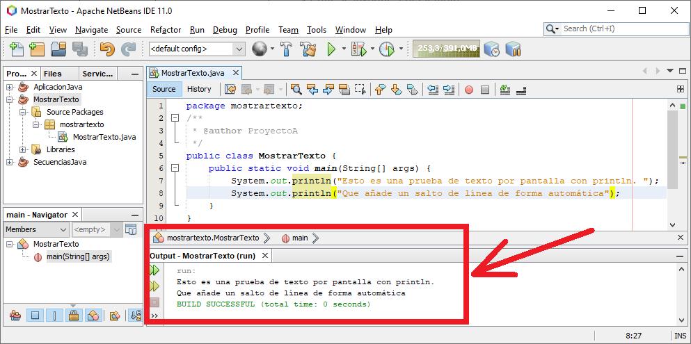 Mostrar texto por pantalla en Java con System.out.println