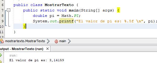 Mostrar texto por pantalla en Java con System.out.printf