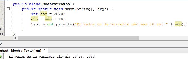 Ejemplo de declaración de variables en Java