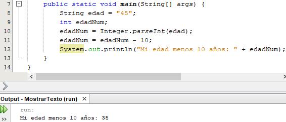 Conversión de cadenas y numéricos en Java