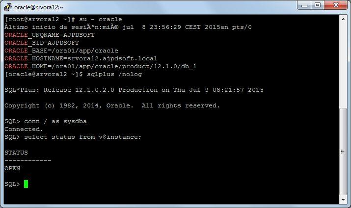 Comprobar estado de la base de datos Oracle 12c en Linux