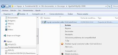 Instalar driver ODBC x32 de MySQL Server en Microsoft Windows 7 x64