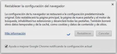 Restablecer configuración original Google Chrome