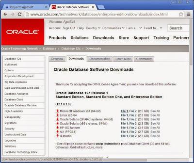 Descargar y descomprimir ficheros de instalación de Oracle 12c Release 1