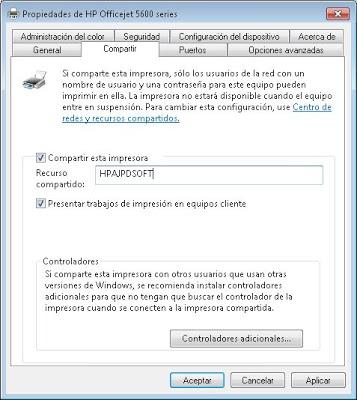Compartir impresora en equipo principal con Microsoft Windows 7
