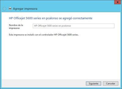 Instalar impresora compartida en equipo de red desde equipo con Windows Server 2012