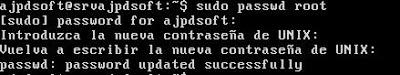 Contraseña para superusuario root en Linux Ubuntu Server 13.04