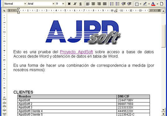Acceso a una base de datos Microsoft Access desde Microsoft Word