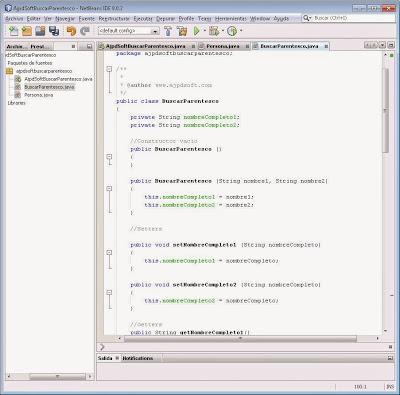 Crear clase BuscarParentesco en Java con NetBeans