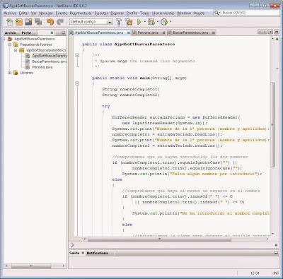 Instanciar y referenciar las clases y probar la aplicación Java para el cálculo de parentesco