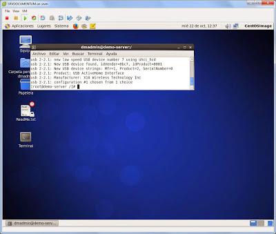 Comprobar dispositivo USB conectado en máquina virtual Linux CentOS 6