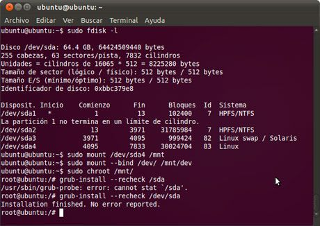Restaurar GRUB2 en Linux Ubuntu 11.04 Natty Narwhal después de instalar Windows