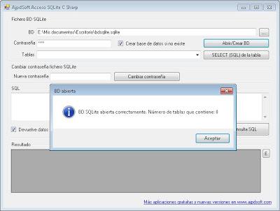 AjpdSoft Acceso SQLite C# ADO.NET