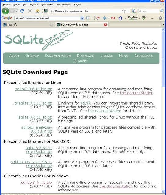 Instalar SQLite 3.6.11, configurar y acceder mediante ODBC a SQLite