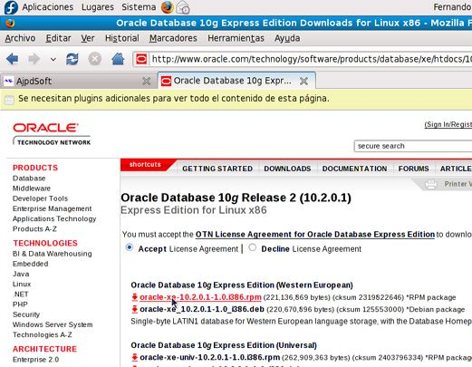 Instalación de Oracle Database Express Edition XE en GNU Linux Fedora 10