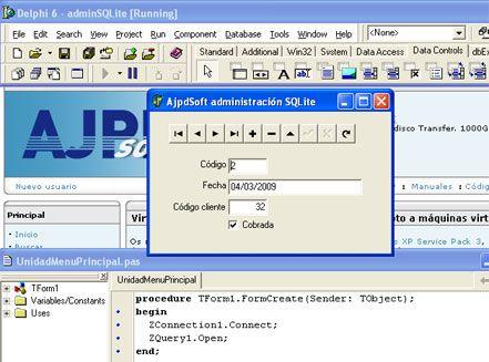 Acceso a SQLite 3 mediante Delphi 6 y ZeosDBO en Windows XP