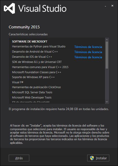 Descarga e instalación de Visual Studio .Net Community 2015 gratuito