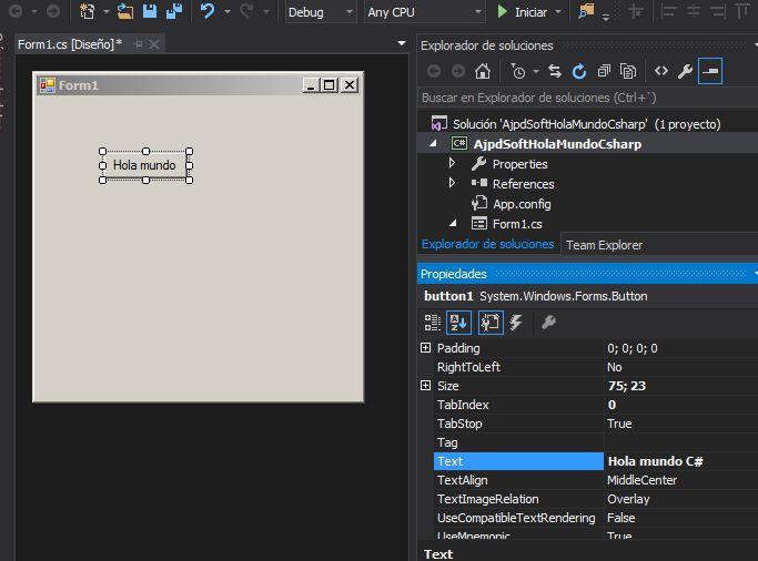 Primera aplicación Visual Studio .NET Community 2015 en C# C Sharp Hola Mundo