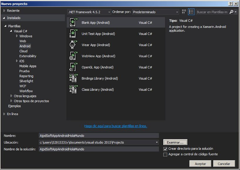 Crear primera App Android con Visual Studio .NET Community 2015, requiere de Xamarin de pago