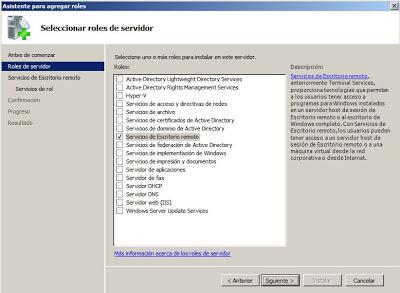 Agregar un nuevo rol en Windows Server 2008: Servicios de Escritorio remoto