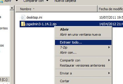 Instalar pgAdmin, administrar PostgreSQL en Windows Server 2008 x64