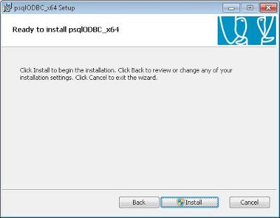 Instalar ODBC de PostgreSQL psqlODBC x64 en un equipo con Windows 7