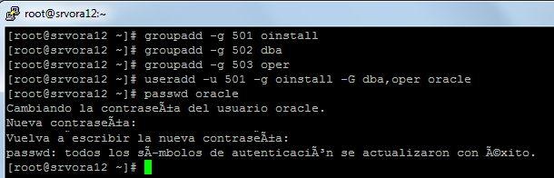 Grupos de seguridad, usuarios para Oracle en Linux CentOS 7