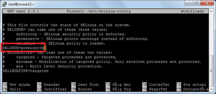 Parámetro de seguridad SELINUX a permissive