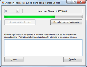 Crear proceso en segundo plano con barra de progreso en Visual Basic .Net VB.Net