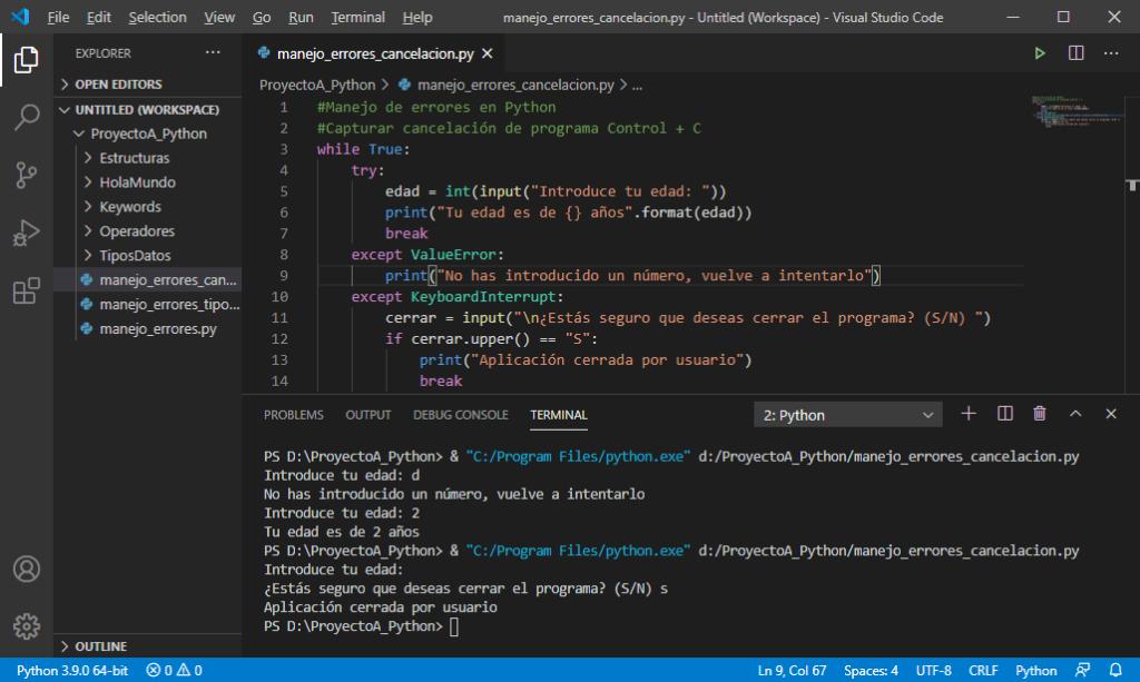 Capturar cancelación de programa (Control + C) en Python