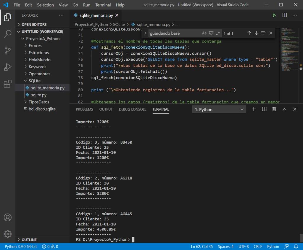 Compilando y probando programa Python con acceso a SQLite