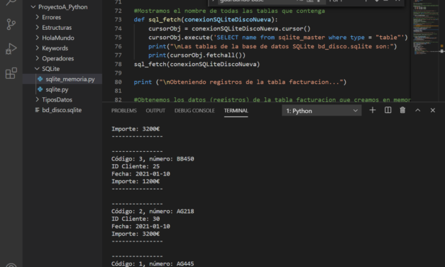 Ejemplo acceso a bd SQLite en memoria y en disco con Python