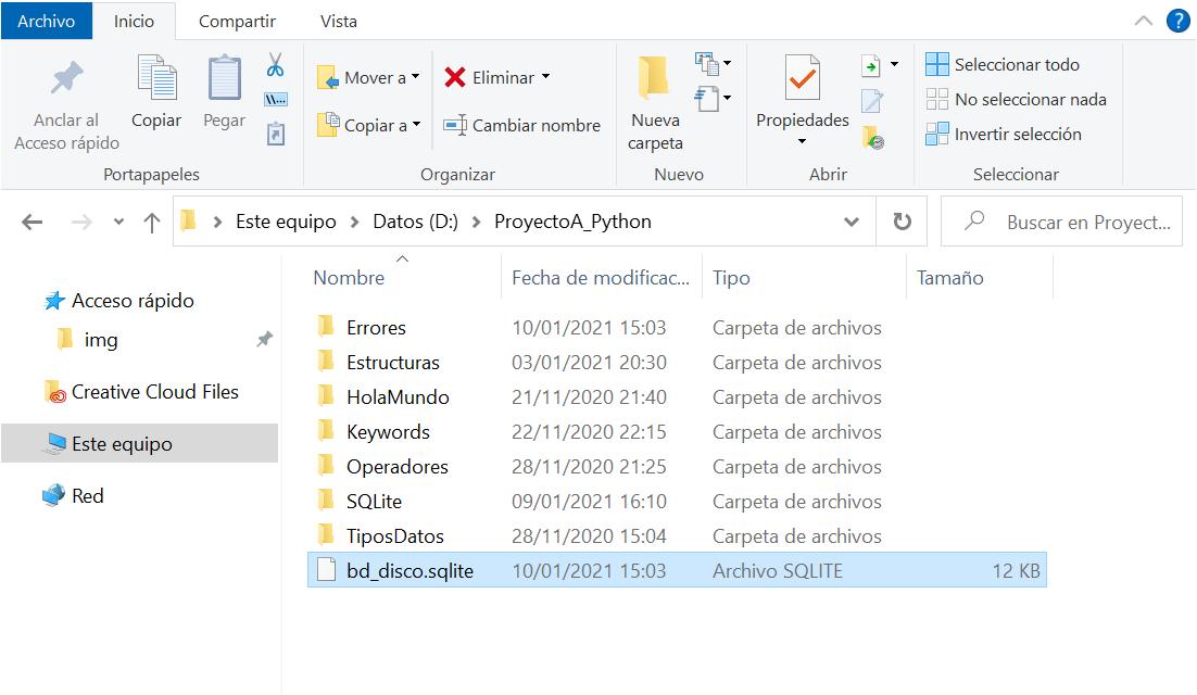 Tablas SQLite en memoria con guardado en disco sentencias SQL select e insert con Python
