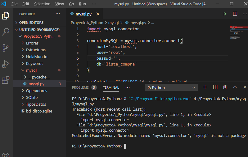 Error ModuleNotFoundError: No module named 'mysql.connector'; 'mysql' is not a package