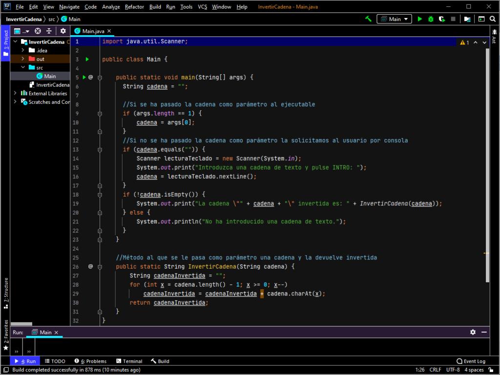 Aplicación completa de ejemplo de uso del método para invertir cadena de texto en IntelliJ IDEA