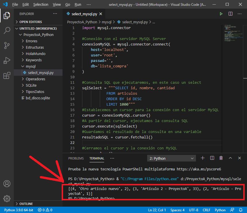 Ejemplo de ejecución de consulta SQL select en Python contra servidor MySQL