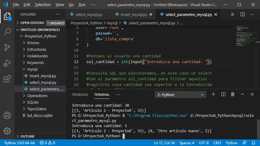 Select con filtro (parámetro) en tabla MySQL con Python
