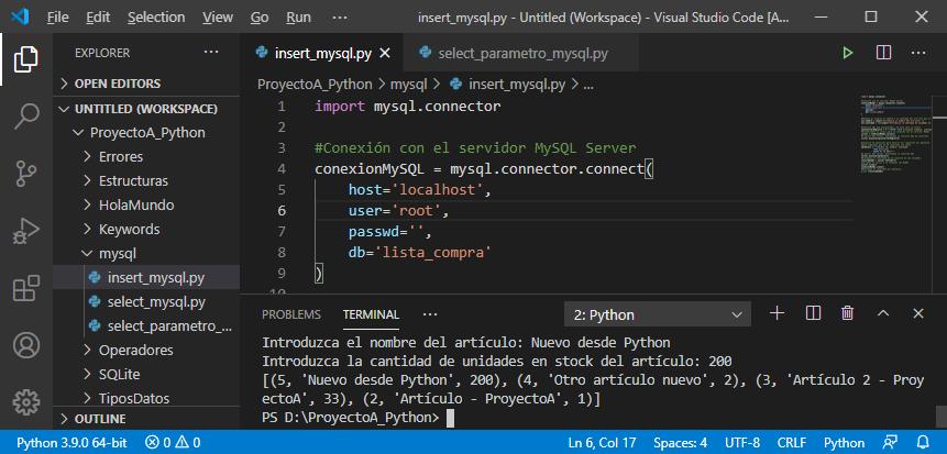Inserción de registro en tabla MySQL con Python