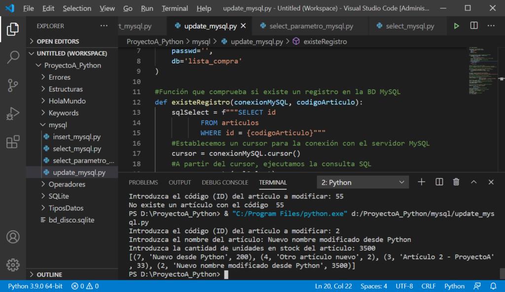 Modificar registro existente en tabla MySQL desde Python