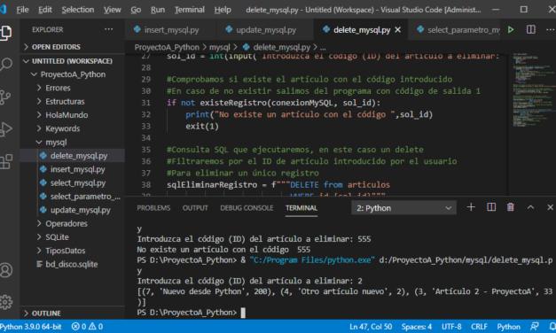 Ejemplos en Python de acceso a MySQL Server