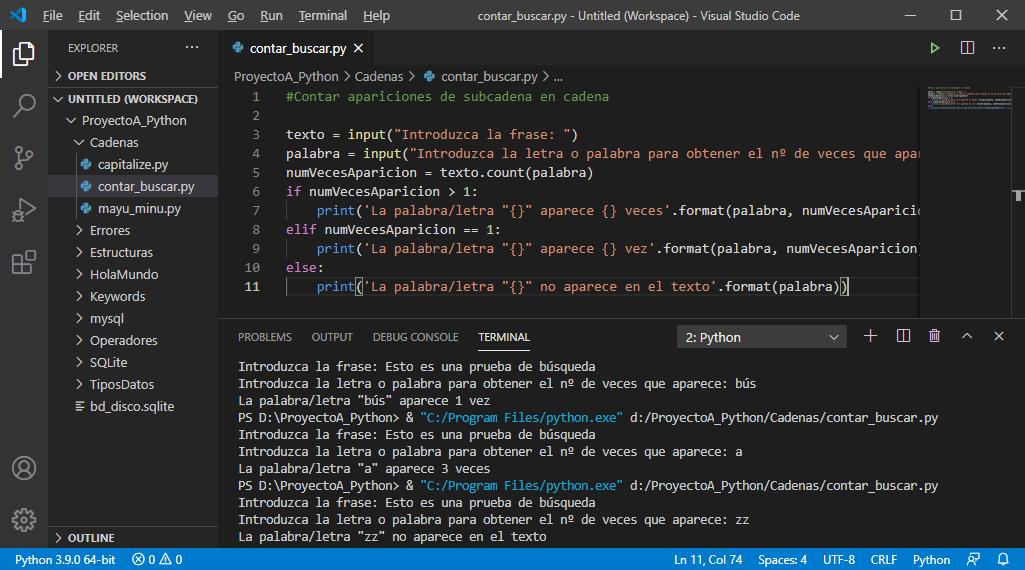 Funciones auxiliares de tratamiento de cadenas de texto en Python