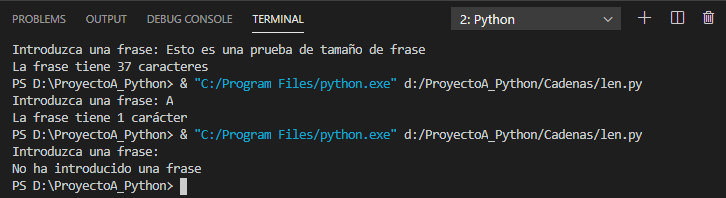 Función len() para obtener el tamaño de una cadena en Python